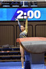 MORGANTOWN, WV - MARCH 8: WVU female gymnast Dayah Haley finishes her vault during a dual meet March 8, 2015 in Morgantown, WV.