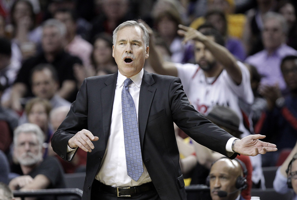 . Los Angeles Lakers coach Mike D\'Antoni is shown during the second half of an NBA basketball game against the Portland Trail Blazers in Portland, Ore., Monday, March 3, 2014.(AP Photo/Don Ryan)