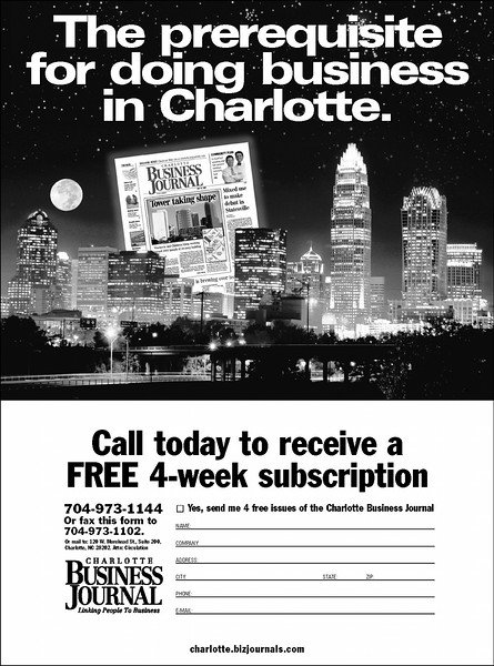 Ad for Charlotte Business Journal.