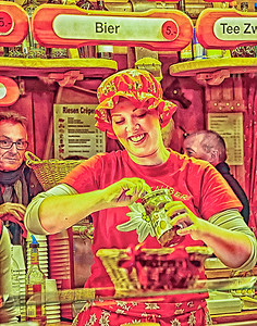 """""""Happiness working at the carnival"""" (digital painting from digital photograph) by Robert Bolla"""