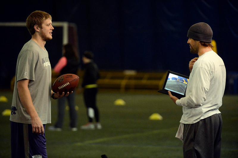 . Former Denver Broncos quarterback, Jake Plummer, right, coaches former Kansas State star quarterback, Collin Klein, left, inside the South Suburban Parks and Recreation\'s Sport Dome in Centennial, Colorado, Thursday morning, February 14th, 2013.  Plummer has spent weeks with Klein preparing him for the upcoming NFL Scouting Combine in Indianapolis, Indiana February 20th thru February 26th 2013. (Photo By Andy Cross / The Denver Post)