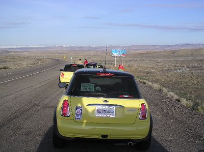 We're fifth in a line of seven MINIs, including one from Kansas, at the Utah state line. This is part of the Colorado contingent of MINIs, known as the MINI5280 club (www.MINI5280.org), is on its way to 'Vegas.