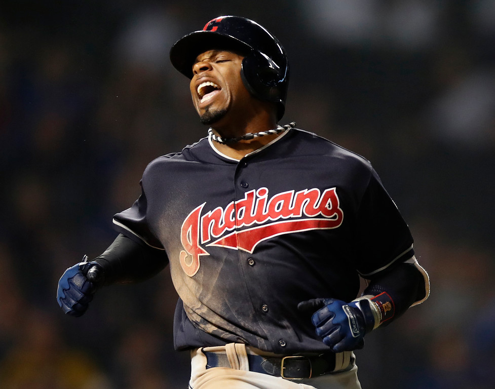 . Cleveland Indians\' Rajai Davis reacts after lining out during the ninth inning of the team\'s baseball game against the Chicago Cubs on Wednesday, May 23, 2018, in Chicago. (AP Photo/Jim Young)