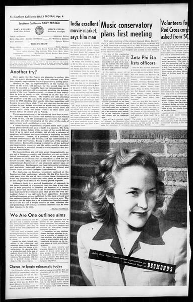Daily Trojan, Vol. 36, No. 93, April 04, 1945