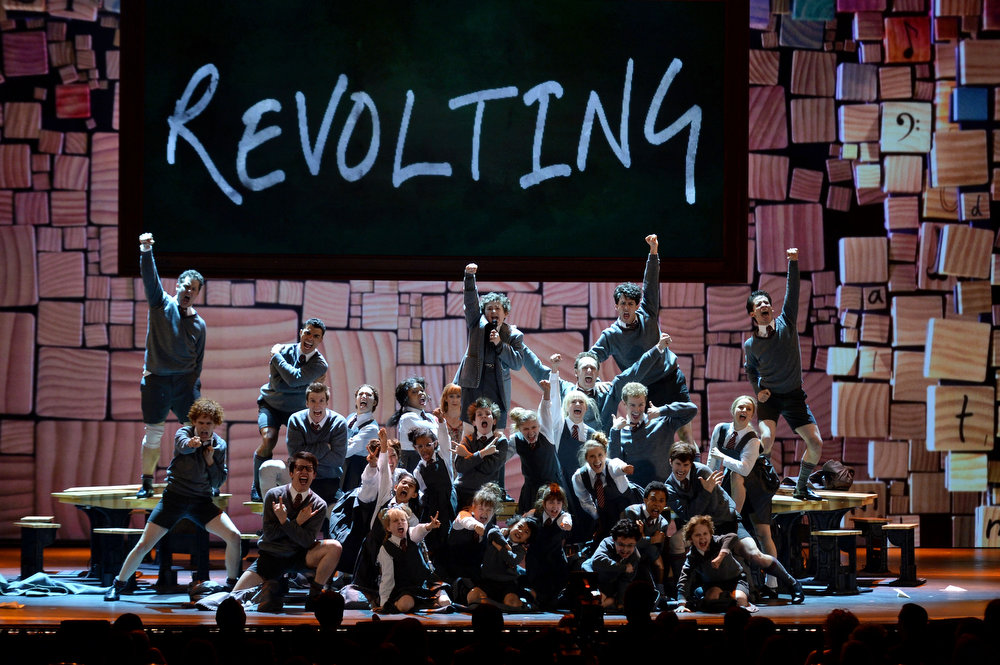 . The cast of \'Matilda The Musical\' performs onstage at The 67th Annual Tony Awards at Radio City Music Hall on June 9, 2013 in New York City.  (Photo by Andrew H. Walker/Getty Images for Tony Awards Productions)