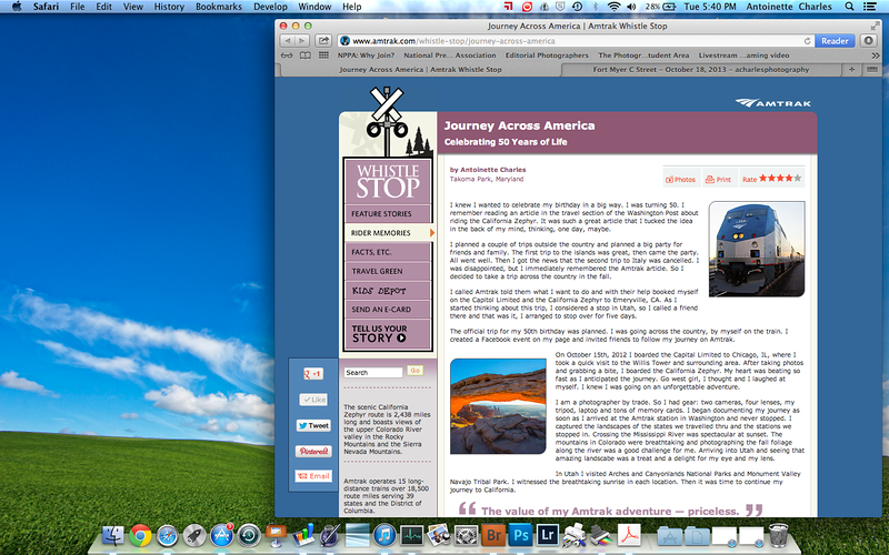 My article about my train trip across America in 2012 was published on the Amtrak website on 10-28-13!
