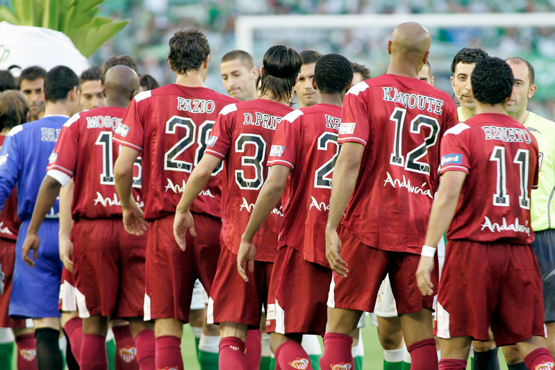 Sevilla FC players shaking the hands of their opponent ones. Local derby between Real Betis and Sevilla FC, Ruiz de Lopera stadium, Seville, Spain, 11 May 2008.