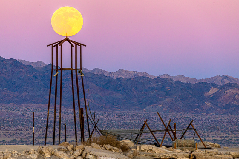 """-=- Full Moon Over """"The Lighthouse"""" at Bombay Beach -=-"""