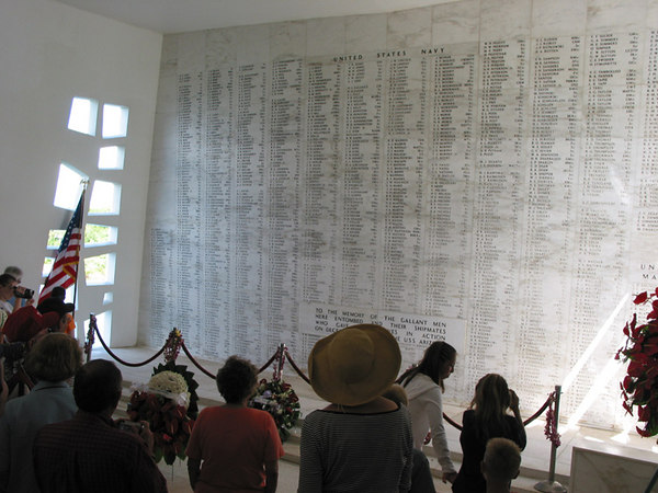 The wall of remembrance inside the USS Arizona memorial.