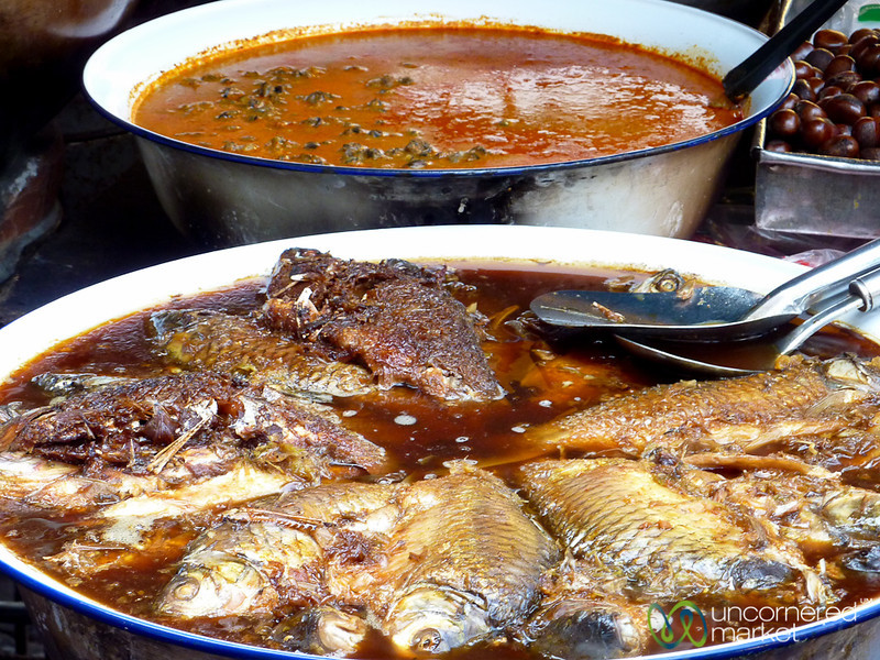 Bowls of Fish and Curries on the Streets of Bangkok, Thailand
