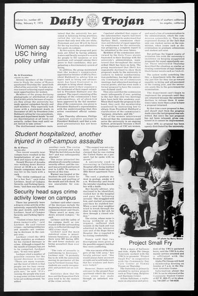Daily Trojan, Vol. 65, No. 69, February 09, 1973