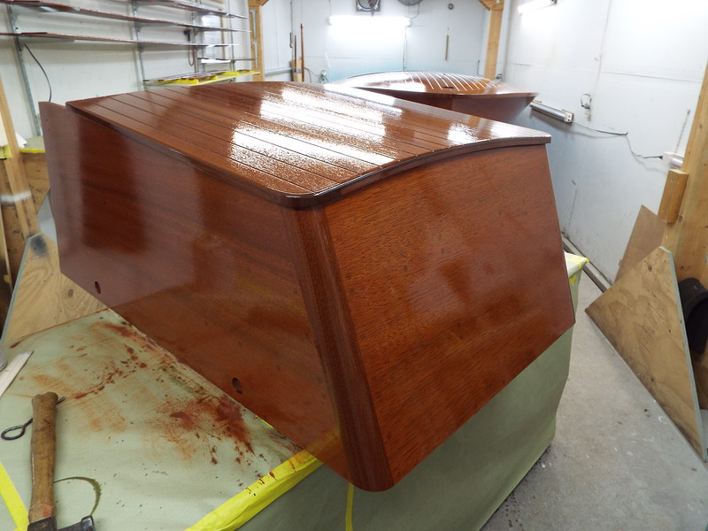 Engine box with two coats of finish applied.