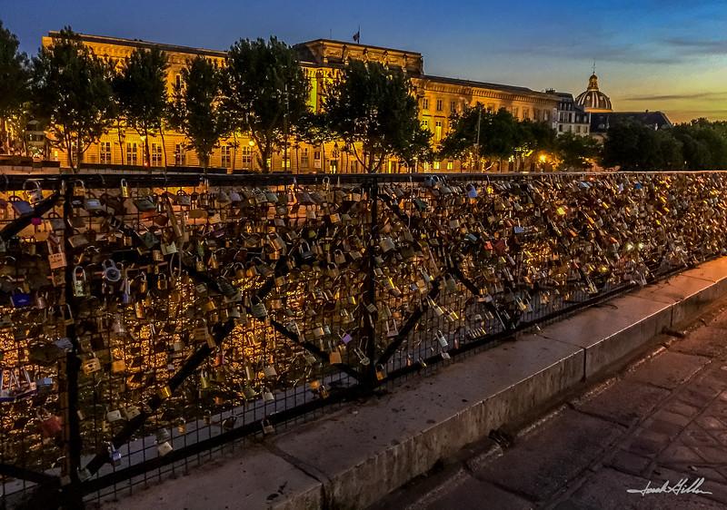 """Paris """"Love locks"""" on the Seine River"""
