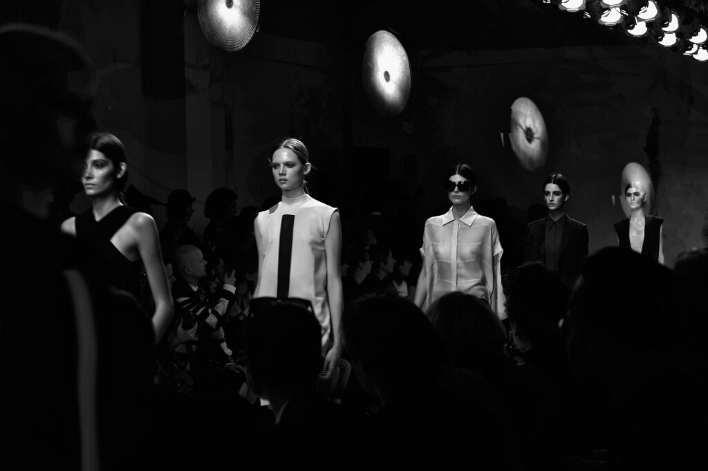 . PARIS, FRANCE - SEPTEMBER 25:  (EDITORS NOTE: In-Camera multiple exposure mode was used to create this image and then processed using digital filters) Models walk the runway the during Damir Doma show as part of  Paris Fashion Week Womenswear Spring/Summer 2014 on September 25, 2013 in Paris, France.  (Photo by Gareth Cattermole/Getty Images)