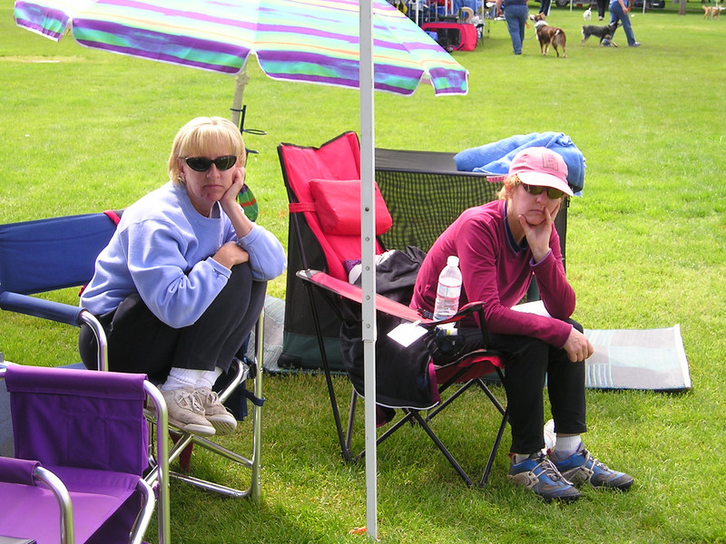 Tracey and Lisa sitting on folding chairs