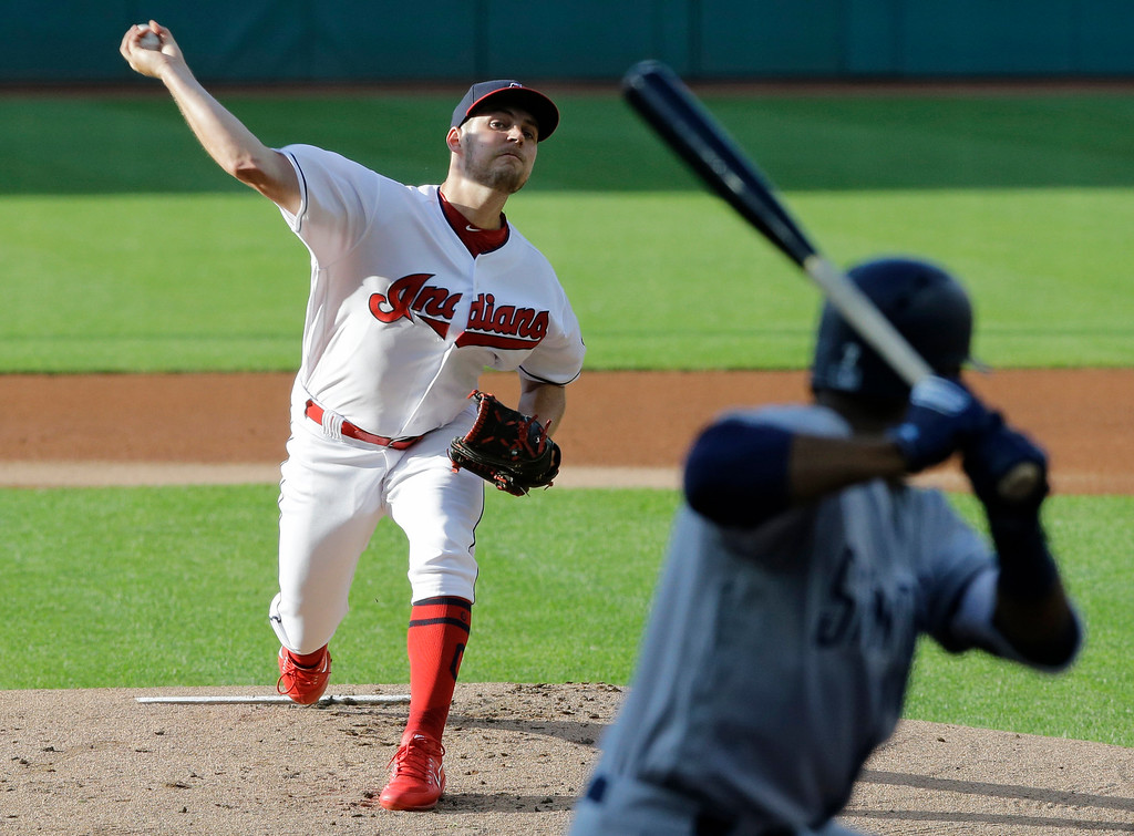 . Cleveland Indians starting pitcher Trevor Bauer delivers to San Diego Padres\' Manuel Margot in the first inning of a baseball game, Wednesday, July 5, 2017, in Cleveland. (AP Photo/Tony Dejak)