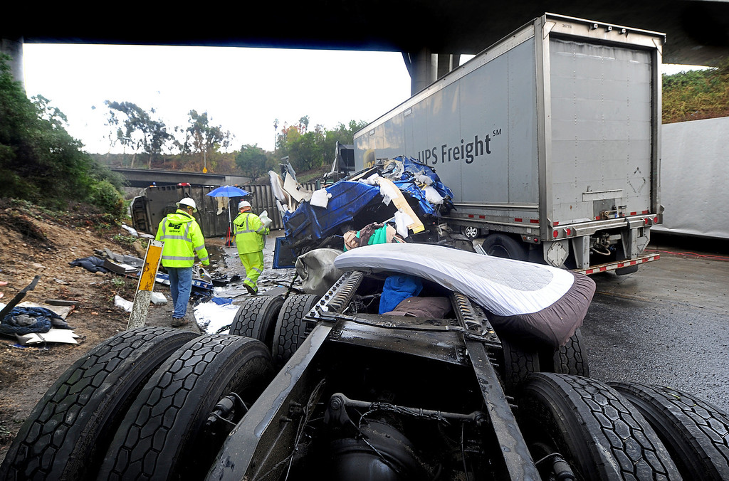 . A crash cab where a truck driver was killed. Three big-rig and two cars crashed, killing a truck driver near the runner on (210) Freeway East.  The accident at 12:01 caused the tunnel to be closed and a SigAlert was called where the tunnel was schedule to reopen by 4 to  5 p.m. Thursday, November 21, 2013. (Photo by Walt Mancini/Pasadena Star-News)