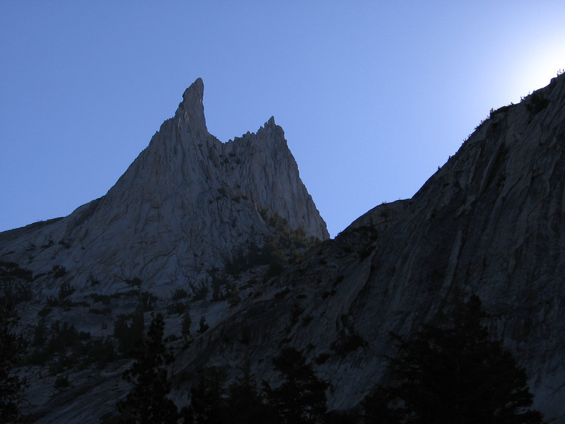 Cathedral Peak, 10,911 feet, in early-morning light.