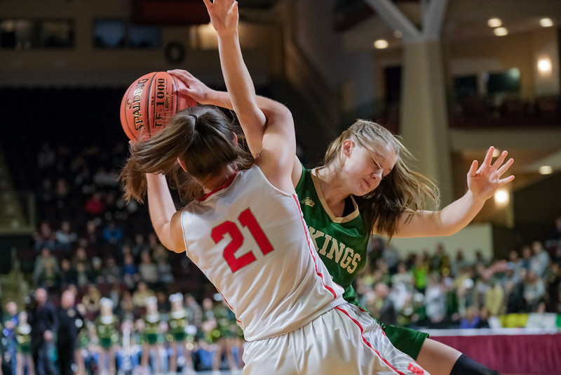 South Portland's Ashlee Aceto and Oxford Hills' Ella Kellogg get tangled up trying to come down with  a rebound.