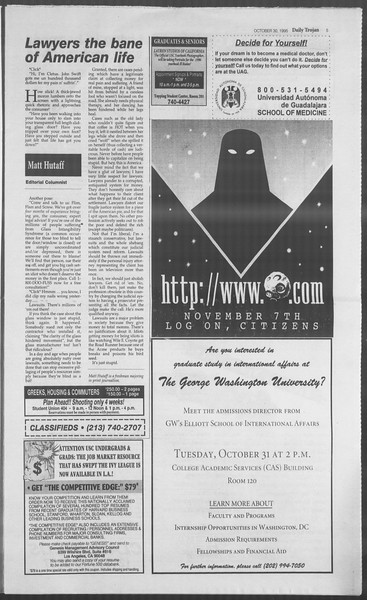Daily Trojan, Vol. 126, No. 41, October 30, 1995