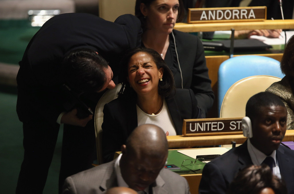 ". NEW YORK, NY - NOVEMBER 29:  Susan Rice, the American ambassador to the United Nations is congratulated after speaking at the UN General Assembly on November 29, 2012 in New York City. The United States voted against an historic resolution granting ""non-member status\"" to Palestine, which was approved by the 193-member body by a vote of 138-9, with 41 abstentions. (Photo by John Moore/Getty Images)"
