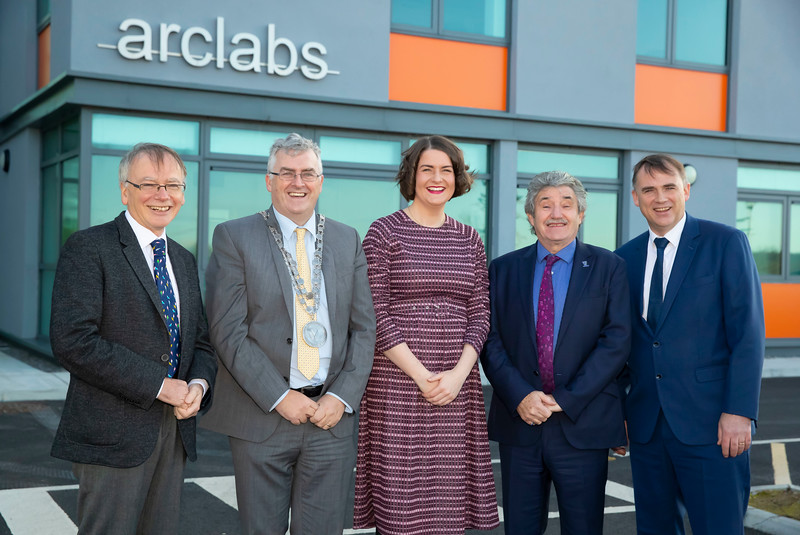15/11/2019. FREE TO USE IMAGE. Pictured at the The official opening of the ArcLabs Research & Innovation Centre WIT extension, at Carriganore, Co Waterford. Pictured are Professor Willie Donnelly, President at Waterford Institute of Technology (WIT),  Cllr. John Pratt, Mayor of the City and County of Waterford, Dr Aisling O'Neill, Manager at ArcLabs, John Halligan TD, Minister for Training, Skills, Innovation, Research and Development and Martin Corkery  Regional Director, Enterprise Ireland. Picture: Patrick Browne