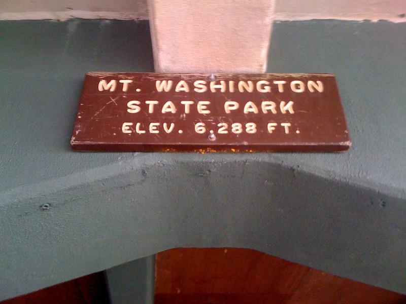 Sign at Mt Washington