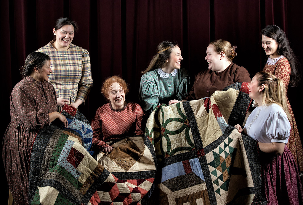. Cast members in �Quilters� -- a play that�s part of a collaboration between the Lake County History Center, Lake Erie College and Rabbit Run Community Arts Association -- include Maria Lister Lyons, left, Evie Koh,  Mim Goloboff,  Hannah Williams, Colleen O�Leary, Shelbi Guy and Jackie DiFrangia. The play�s run in the C.K. Rickel Theatre at Lake Erie College in Painesville continues through March 4. Get information from RRCAA at 440-428-5913 or rabbitrunonline.org. (Kathy Sandham)