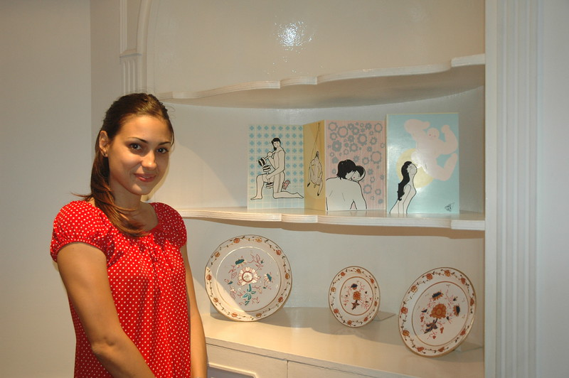 Artist Adislen Reyes Pino with her work at the Ludwig Foundation - Leslie Rowley