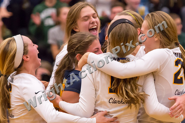 2013 11 07 Clarkston Varsity Volleyball MHSAA District Final Game vs Oxford - Go Wolves!!!
