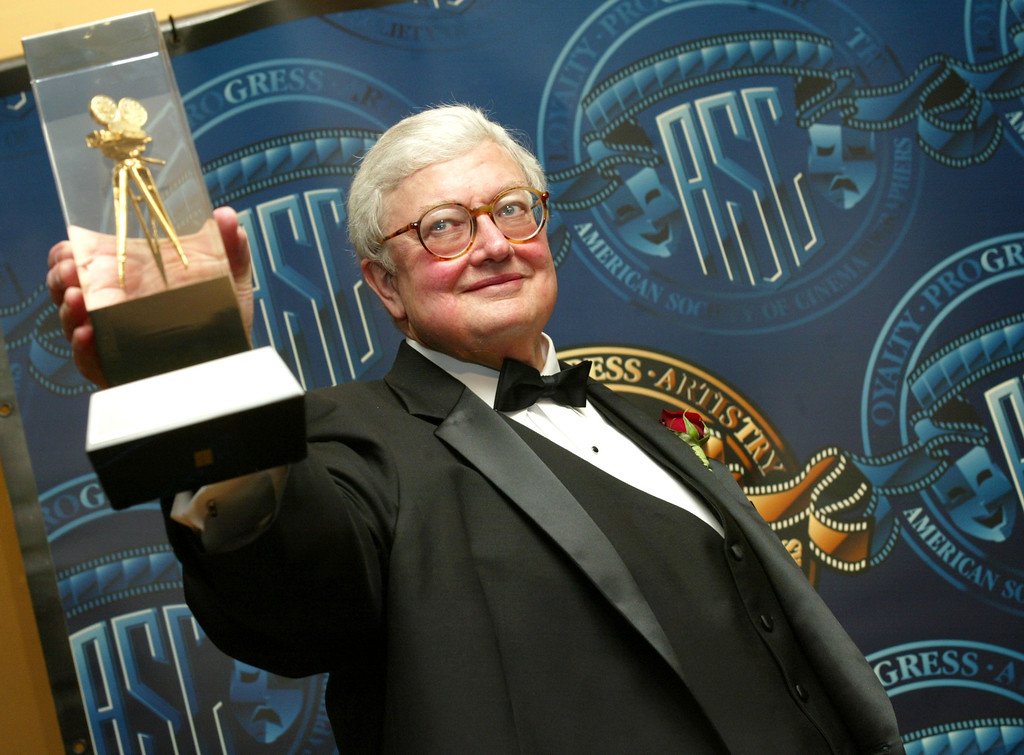 . Film Critic Roger Ebert receives a special award of recognition at the American Society of Cinematographers 17th Annual Outstanding Achievement Awards at the Century Plaza Hotel on February 16, 2003 in Los Angeles, California.  (Photo by Kevin Winter/Getty Images)