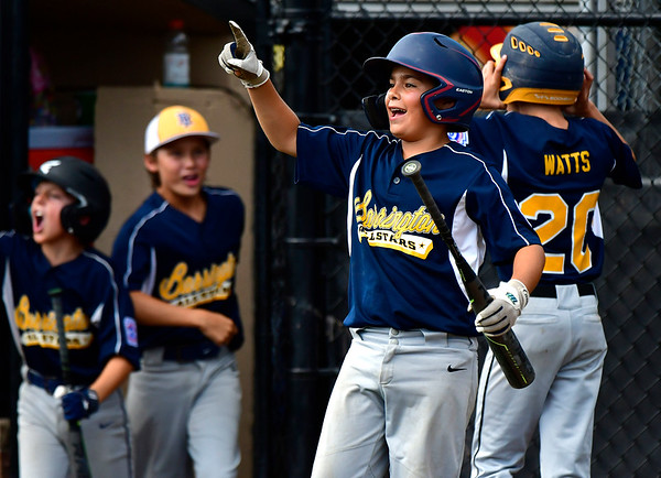 8/9/2019 Mike Orazzi | Staff Rhode Island's Mason Crain (6) celebrates during a 4-0 win over Connecticut at the semi-final in the New England Regional Baseball game at Breen Field in Bristol on Friday.