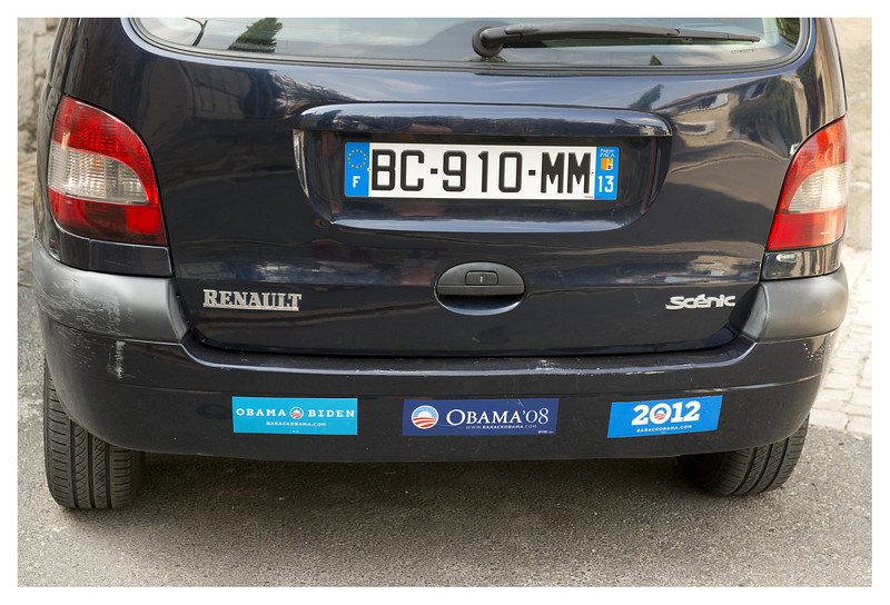 Apparently the French follow American politics or this car belongs to some Ex Pats.