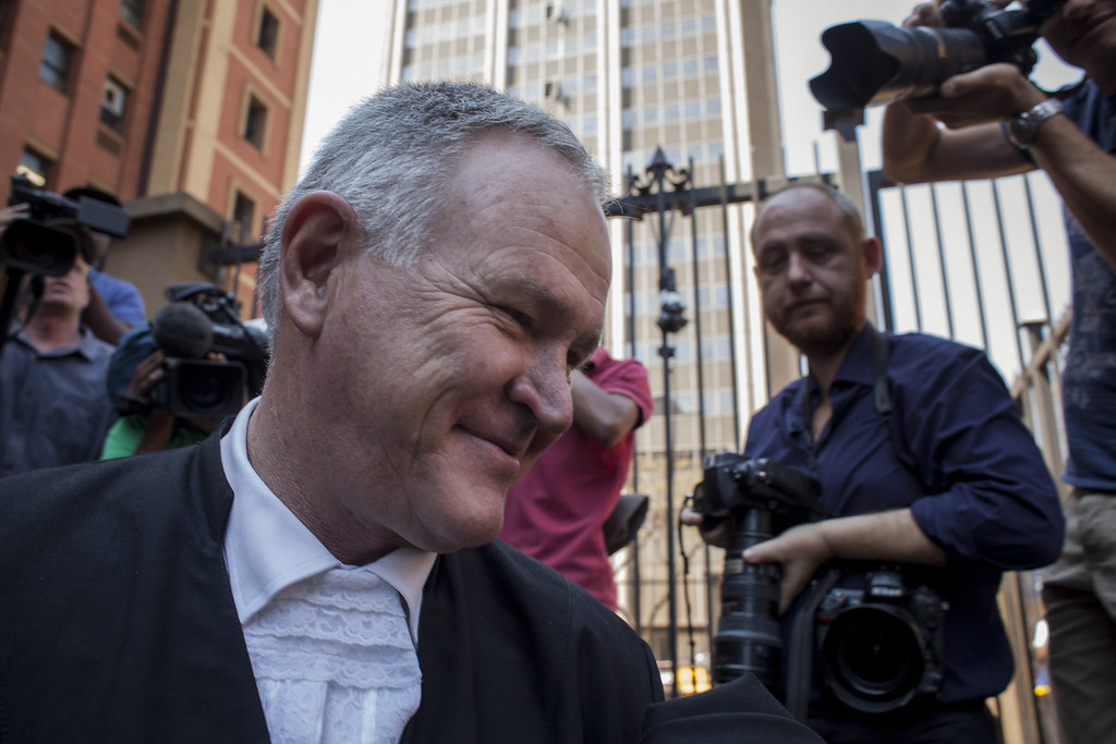 . Oscar Pistorius\'s lawyer Barry Roux leaves the North Gauteng High Court on September 12, 2014 in Pretoria, South Africa.  (Charlie Shoemaker/Getty Images)