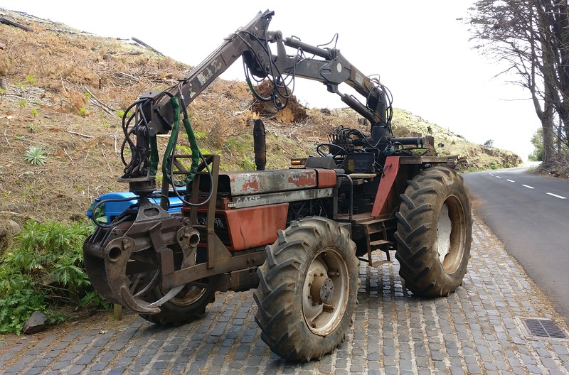 Case International with log lifter, Madeira, Portugal.