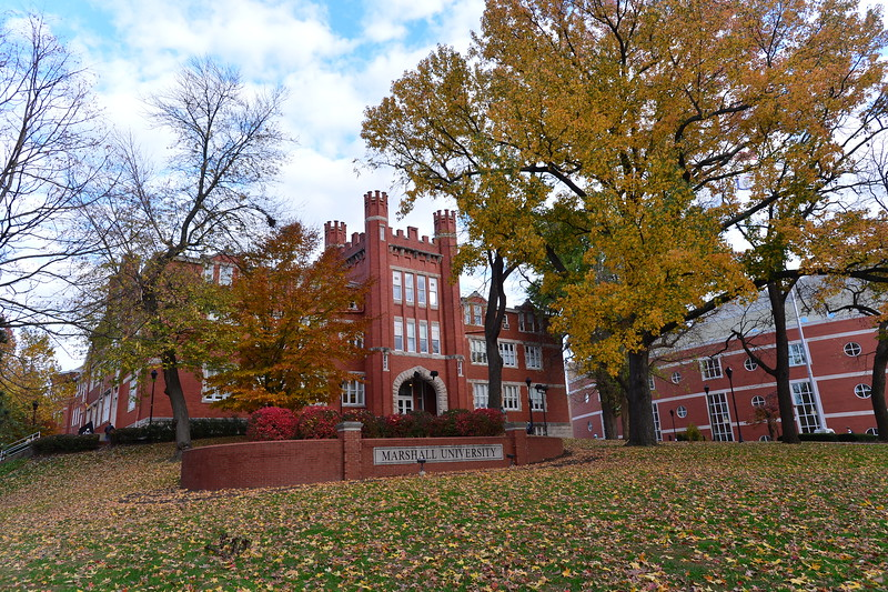 Old Main and Drinko Library in the fall