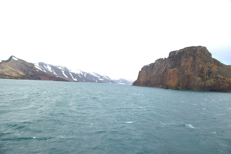 Deception Island, approaching Neptunes Bellows the water filled crater opening to Whalers Bay