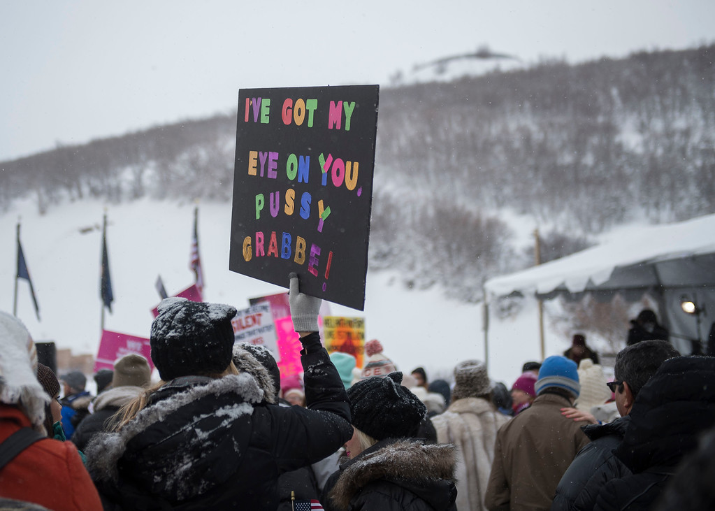 ". Protest signs seen at the ""Women\'s March On Main\"" during the 2017 Sundance Film Festival on Saturday, Jan. 21, 2017, in Park City, Utah. (Photo by Arthur Mola/Invision/AP)"