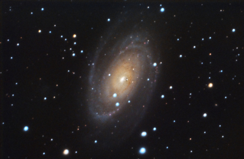 """M81: Bode Galaxy in Ursa Major, 26 x 10 minutes, F/10, 2/24/2012. It was a very windy night averaging 13MPH with 20MPH gust!!!! Celestron 8"""" EdgeHD with Astro-Physics Mach1GTO GEM. SXVR-M25C. IDAS LPS Filter. Hutech OAG. Lodestar. Pre-Processed (BPM, Bias, Flats Calibration and Debayer) with Nebulosity. Post-processed with PixInsight. PHD settings: RA Aggressiveness: 90, RA Hysteresis: 10, Max Dec Duration: 50, Min Motion: 0.30, Calibration Steps: 100msec, Auto/Resist Switching, No Dithering, 5 sec guiding exposure."""