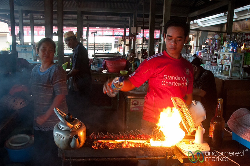 Grilling Satay Beef at the Market - Bali