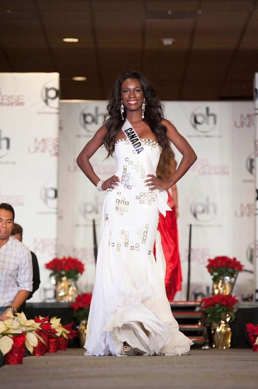 . Miss Canada 2012 Yamoah Adwoa walks the runway during the Welcome Event at Bally\'s in Las Vegas, Nevada December 6, 2012. The Miss Universe 2012 competition will be held on December 19. REUTERS/Valerie Macon/Miss Universe Organization L.P/Handout