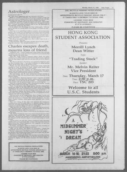 Daily Trojan, Vol. 106, No. 43, March 14, 1988