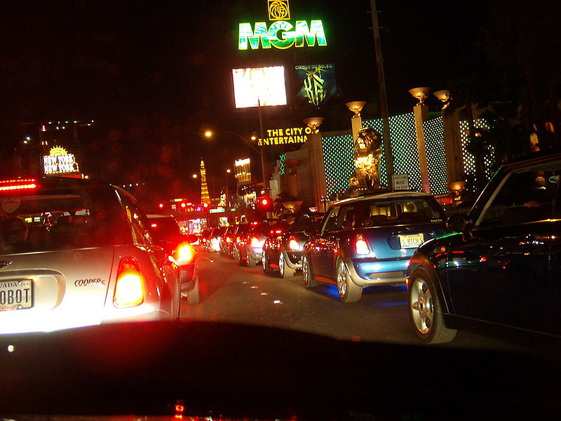 Las Vegas Strip on a Friday night. There were lots of MINIs honking, people on the sidewalk pointing and shouting. Everybody seemed to have a good time.