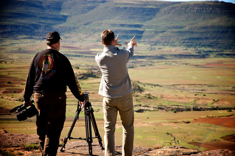 OFM team, setting up shot in Lesotho mountains  OFM team
