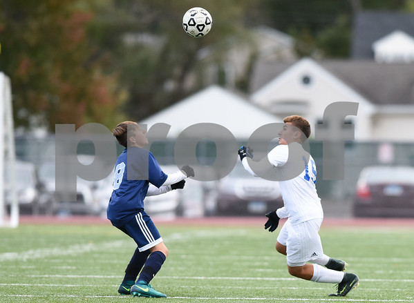 10/16/17 Wesley Bunnell | Staff Middletown vs Plainville boys soccer at Plainville High School on Monday afternoon. Plainvilles Matt Bialko (15).
