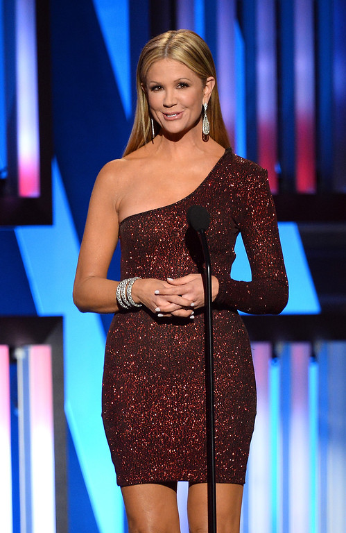 . TV personality Nancy O\'Dell speaks onstage during ACM Presents: An All-Star Salute To The Troops at the MGM Grand Garden Arena on April 7, 2014 in Las Vegas, Nevada.  (Photo by Ethan Miller/Getty Images for ACM)