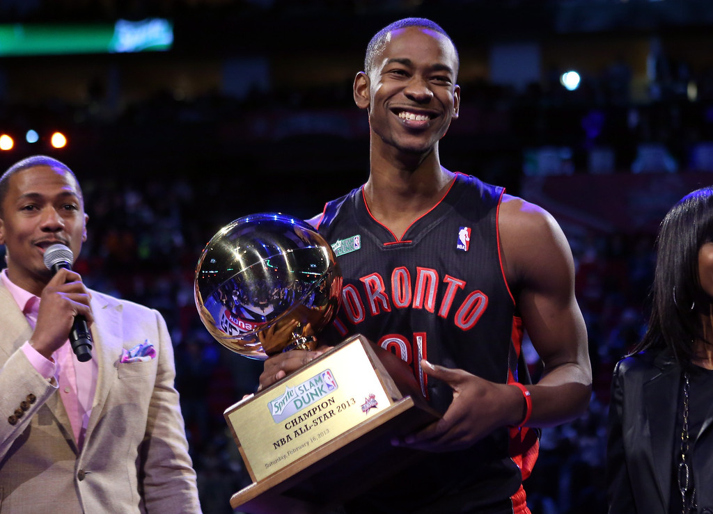 . HOUSTON, TX - FEBRUARY 16:  Terrence Ross of the Toronto Raptors celebrates after winning the Sprite Slam Dunk Contest part of 2013 NBA All-Star Weekend at the Toyota Center on February 16, 2013 in Houston, Texas.  (Photo by Ronald Martinez/Getty Images)