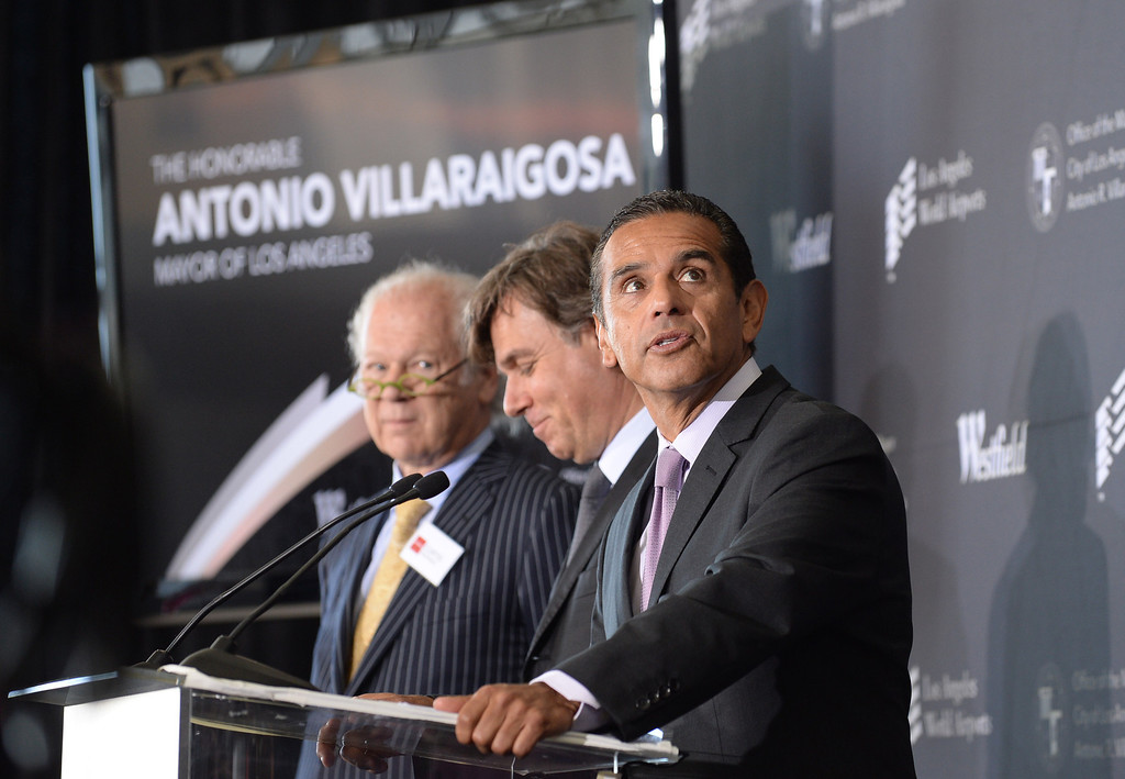 . Mayor Antonio Villaraigosa looks around at the building before him. Media preview of the new Tom Bradley International Terminal at LAX.  Photo by Brad Graverson 6-20-13