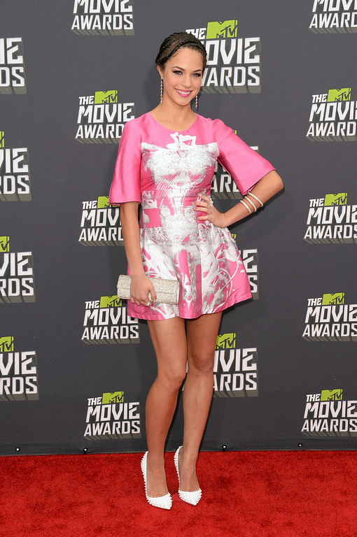 . Actress Alexis Knapp arrives at the 2013 MTV Movie Awards at Sony Pictures Studios on April 14, 2013 in Culver City, California.  (Photo by Jason Merritt/Getty Images)