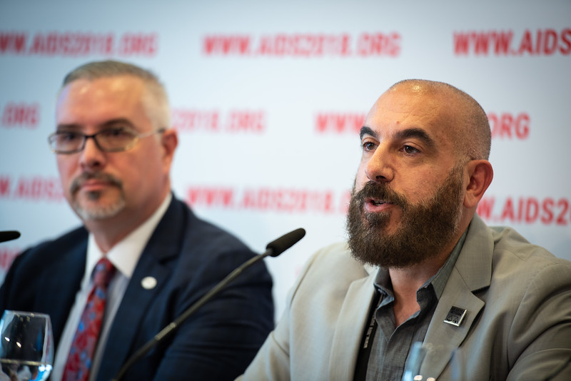 22nd International AIDS Conference (AIDS 2018) Amsterdam, Netherlands.   Copyright: Steve Forrest/Workers' Photos/ IAS  Photo shows: The Criminalization of HIV JIAS Press Conference. From Left to Right: José Zuniga, International Association of Providers of AIDS Care; Edwin Bernard HIV Justice Network.